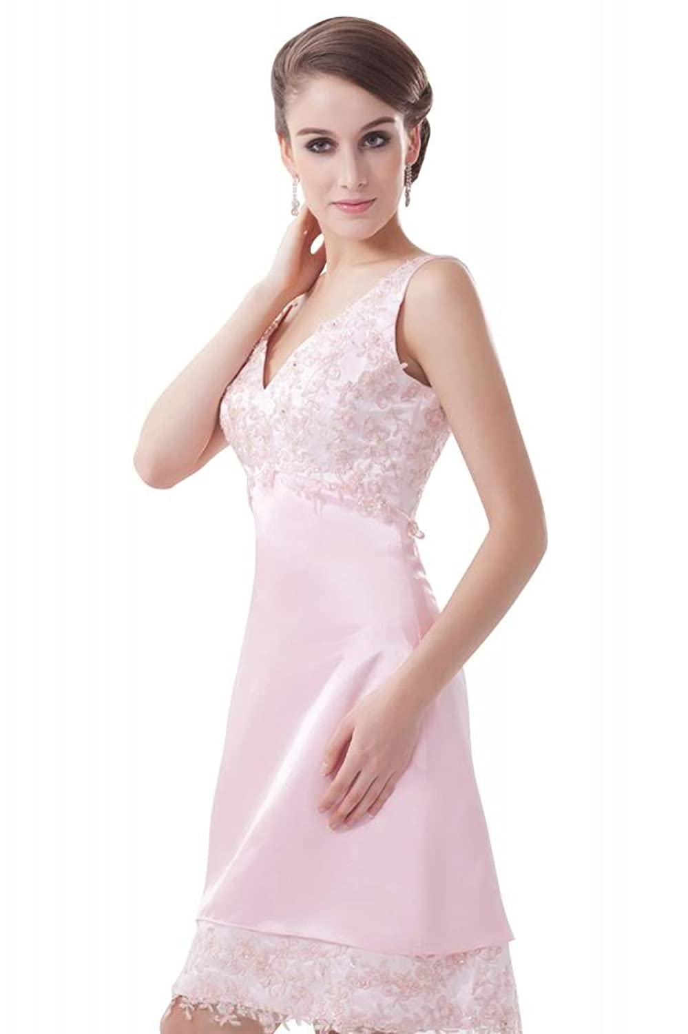 GEORGE BRIDE Pretty Pink Short Appliques Prom Dress