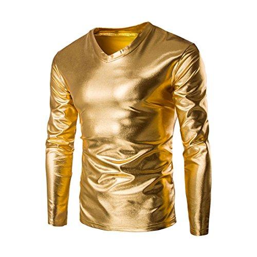 Cotton Metallic Blouse - SANNYSIS Mens Metallic Shiny Wet Long Sleeve T-Shirt Top Slim Fit V Neck Costumes Blouse (L, Gold)