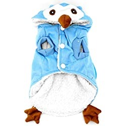 SMALLLEE_Lucky_Store Dog Cat Fleece Owl Costume Pajamas Puppy Winter Coat for Small Dog Under 20lbs XL