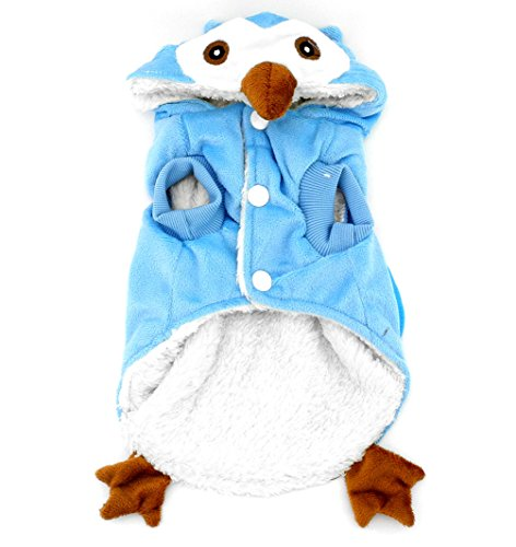 SMALLLEE_Lucky_Store Dog Cat Fleece Owl Costume Pajamas Puppy Winter Coat for Small Dog Under 20lbs M