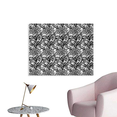 Tudouhoho Black and White Custom Poster Vintage Victorian Lace Style Plants Leaves Ornamental Blossom Pattern Wall Picture Decoration Black White W28 xL20