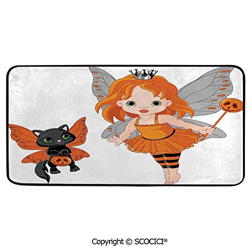 Soft Long Rug Rectangular Area mat for Bedroom Baby Room Decor Round Playhouse Carpet,Halloween,Halloween Baby Fairy and Her Cat in Costumes Butterflies,39