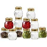 Bormioli Rocco Quattro Stagioni 12 Piece, 5 oz Glass Decorative Mason Jar Set for Canning / Spice / Jelly / Jam,