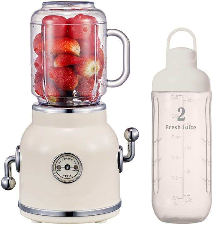 Mezclador con la taza portable retro zumo de 550 ml / 600 ml, licuadora Deportes smoothie para los deportes y los viajes, para preparar batidos, zumos y verduras,Blanco