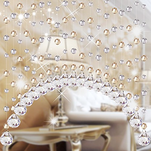 Glass Beaded Curtain - Crystal beaded curtain,Glittering wedding string curtain panel door-A