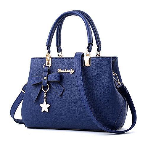 Mujer Caqui Bolsos Baratos Piel ESAILQ Hombro y de Azul de Shoppers Bandolera para Grande Niña L AWRqEaw