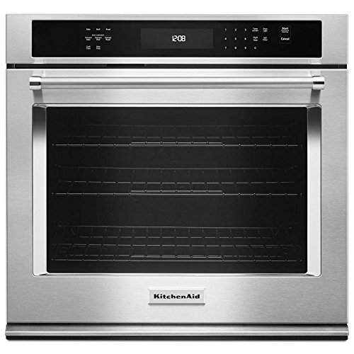 KitchenAid KOSE500EWH 30 Inch Single Electric Wall Oven with 5.0 cu. ft. Even-Heat True Convection Oven, Self-Clean, Preheat, Temperature Conversion, Temperature Probe and Roll-Out Rack