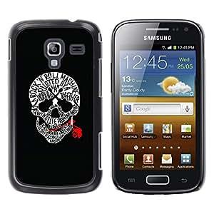 GOODTHINGS Funda Imagen Diseño Carcasa Tapa Trasera Negro Cover Skin Case para Samsung Galaxy Ace 2 I8160 Ace II X S7560M - música cráneo subió roca rodillo guitarra negro