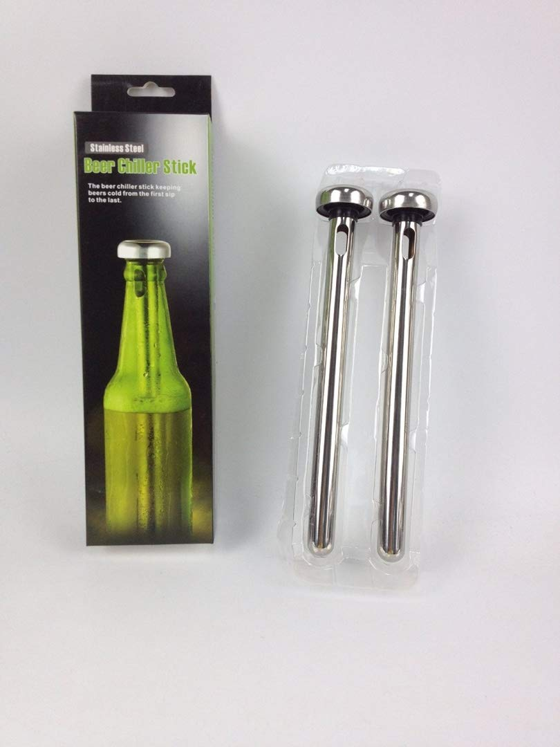 Easy to Use Stainless Steel Beer Alcoholic Beverage Drink pre-frozen Cooler Chiller Stick (Set of 2)