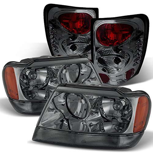 For Grand Cherokee Smoked Headlights Front Lamps Replacement + Smoke Rear Tail Lights Lamps Combo