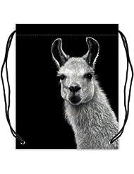 Funny & Cute Llama Lama Basketball Drawstring Bags Backpack, Sports Equipment Bag - 16.5(W) x 19.3(H), Twin-sided...
