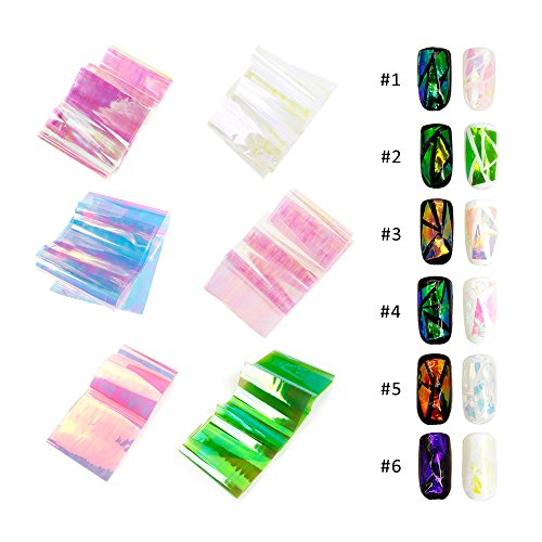 GoodPing 6 Colors DIY Nail Art Broken Glass Laser Foils Finger Decal Stickers