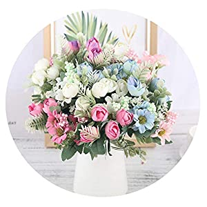 HuaHua-Store Rose Artificial Silk Flowers Bouquet Fake Flowers Daisy Bud Decoration for Wedding Home Foam Accessories 73