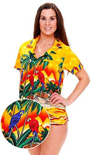 V.H.O Funky Hawaiian Blouse Women Short-Sleeve Front-Pocket Surf Parrot Multiple Colors