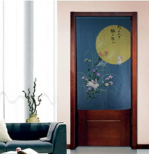 LifEast Japanese Style Noren Curtain the Bright Full Moon Chinese Peony Doorway Curtains (# 2)