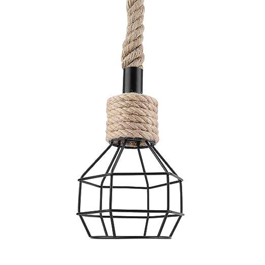 Riuty Lámpara Colgante para Jaula de pájaros, Marco de Hierro E27 ...