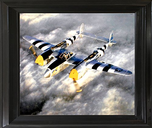 Aviation Framed Wall Decor Military Poster WWII P-38 Lightning Fighter Jet Plane Aircraft Black Picture Art Print (19x23)