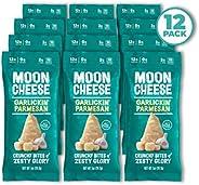 Moon Cheese Garlickin' Parmesan, 100% Parmesan Cheese Snacks, Crunchy Keto Food, Low Carb, High Protein, 1 oz. (12 Pack)