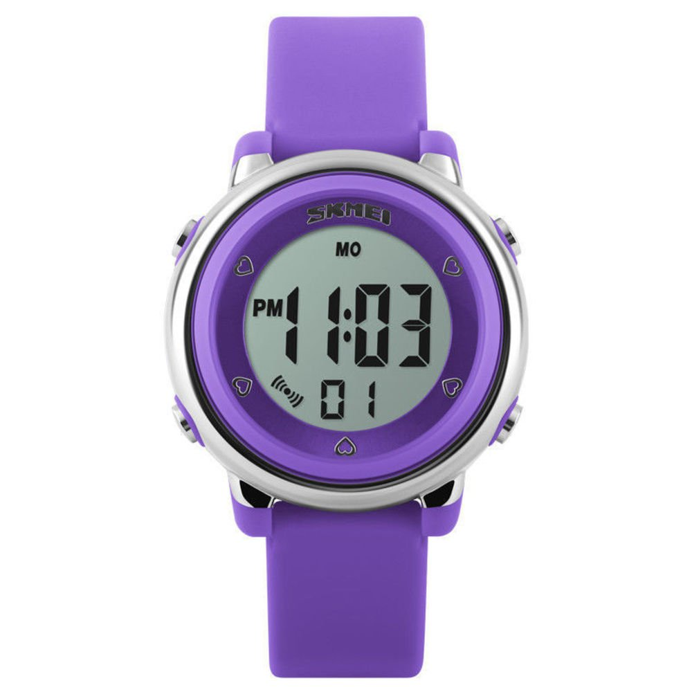 Kids Digital Sport Watch, Boys and Girls Sports Outdoor Watches, Girls LED Waterproof Electrical Watch with Alarm Children Stopwatch (Purple)