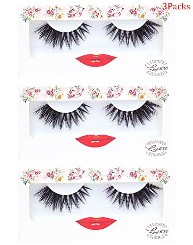 False Eyelashes Dramatic Strip Lashes - LashXO Lola Love -3pack Premium False Eyelashes Compare to brand Make Up Forever and House of Lashes