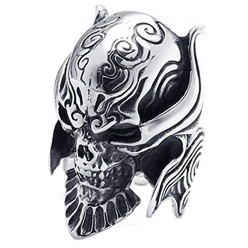 Size 15, KONOV Large Biker Men's Gothic Casted Skull Stainless Steel Ring, Black Silver