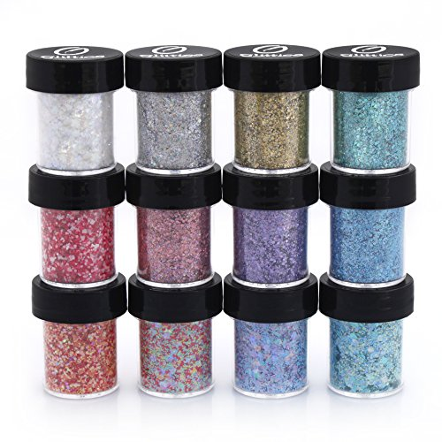 Holographic and Matte Mixed Glitter 12 Piece Kit - Includes Solvent Resistant Dust, Powder, Hexagon, and Square Glitter - Great for Nail Art Polish, Gel, Craft & Acrylics Supplies - -