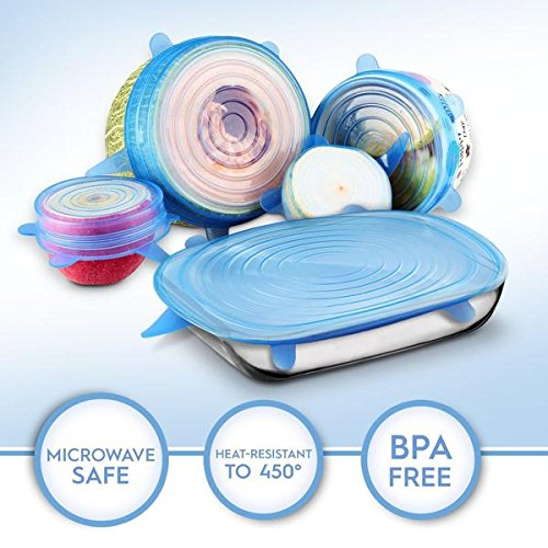 Silicone Stretch Lids 6 pack of Various Sizes Durable and Reusable Food Covers Keep your food fresh longer