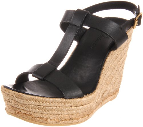 Delman Women's Trish Platform Sandal,Black Vachetta,8 M US Delman Leather Heels