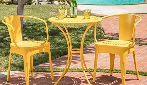Luca Outdoor- Sunroom Furniture- Out Door Patio Furniture- Matte Yellow Cast Iron Three Piece Round Set - Great for Summer Barbecues, Garden Parties, and Afternoons Spent Lounging