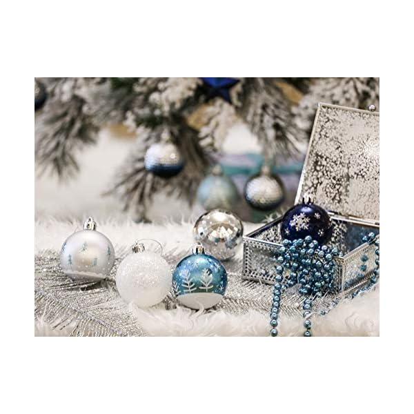 Valery Madelyn Palle di Natale 9 Pezzi 6cm Palle di Natale, Winter Wishes Argento e Blu Infrangibile Palla di Natale Ornamenti Decorazione per la Decorazione Dell'Albero di Natale 5 spesavip