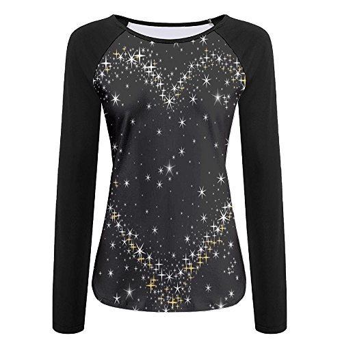 MAMAC Stars Heart Women's T-Shirt Creative Design Crew Long Sleeve Shirt Baseball Tee Raglan T-Shirts ()
