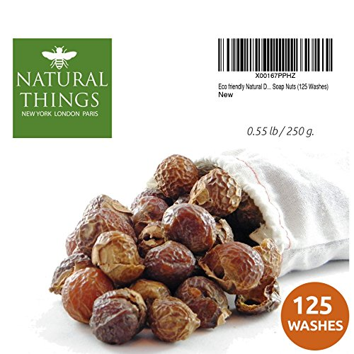 Natural Things Organic All Natural Laundry and Dishwashing Detergent Soap Nuts for Eco Friendly, Premium Grade, Sustainable & Green Laundry (125 Loads). Includes Wash bag
