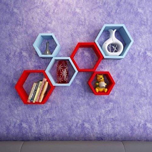 Onlineshoppee Set of 6 Hexagon Shape Designer Storage Shelves   Blue  amp; Red.