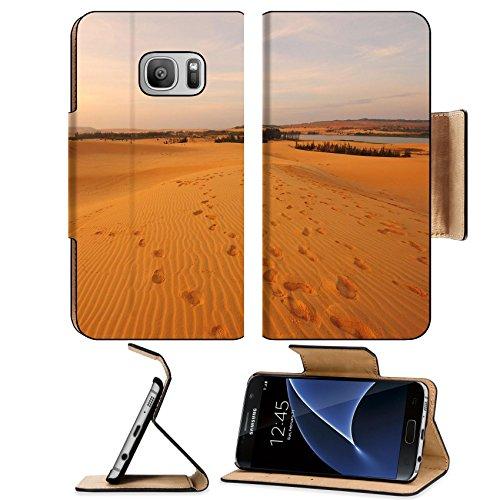 Luxlady Premium Samsung Galaxy S7 Flip Pu Leather Wallet Case IMAGE ID: 23207159 Sand Pattern on Sand - T Mobile Ridge Desert