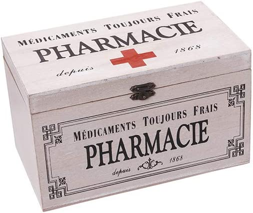 Alices Collection - Caja decorativa de almacenamiento de madera con tapa, diseño de farmacia nostálgica, caja tradicional de primeros auxilios, caja retro de primeros auxilios, tamaño 24 x 15 x 14 cm: