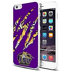 NCAA ISU Tiger football, , Cool iPhone 6 Plus (6+ , 5.5 Inch) Smartphone Case Cover Collector iphone TPU Rubber Case White [By PhoneAholic]