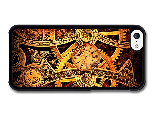 Steampunk Clockwork Cogs Pattern Black and Gold coque pour iPhone 5C