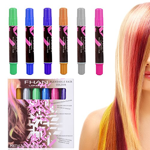 Ameauty Hair Chalk, 6 Colorful Non-Toxic Temporary Washable Hair Dye Colors Wax for Kids, Christmas Birthday Gifts, or Party & Cosplay, Works on All Hair
