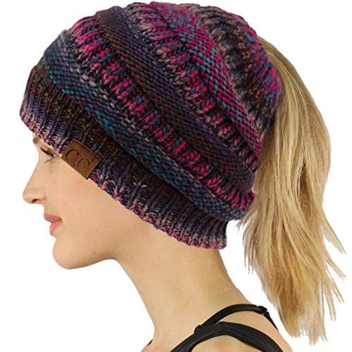 - Ponytail Messy Bun BeanieTail Soft Winter Knit Stretchy Beanie Hat Cap Purple Mix