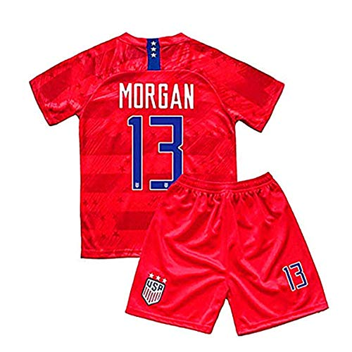 Alex Morgan 2019/2020 USA Away #13 Kids/Youths Soccer Jersey & Shorts Color Red (11-12Years/26) (Childrens Usa Soccer Jersey)