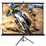 ZENY 100' Projector Screen with Tripod Stand 4:3 HD Indoor and Outdoor Projection Manual Pull Up Portable Foldaway Movie Home Theater Projector Movies Screen (100'', 4:3)