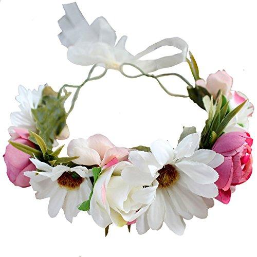 DreamLily Maternity Woodland Photo Shoot Peony Flower Crown Hair Wreath Wedding Headband BC44 (Style 16 Daisy -