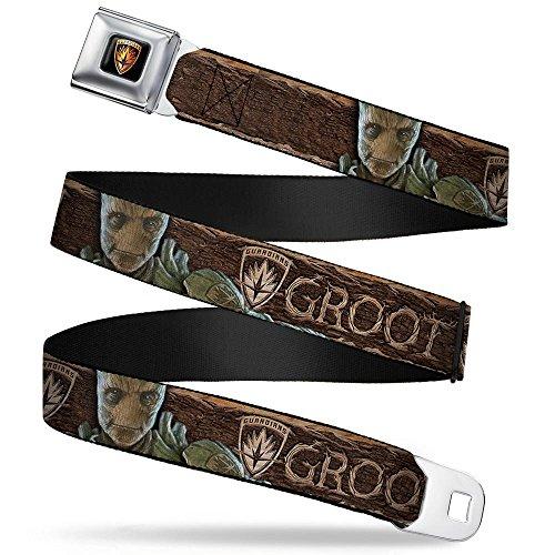 Groot Face/guardians Badge Wood Grain Browns Seatbelt Belt