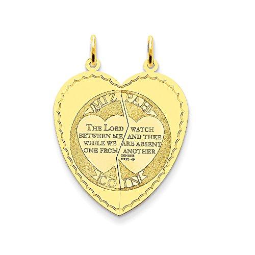 14k Yellow Gold Break Apart Mizpah Coin Emotional Bond Words Heart Charm 33x26mm 14k Yellow Gold Mizpah Coin