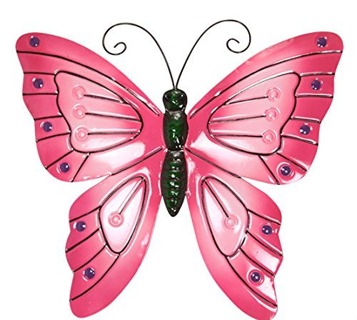 1pce 38cm Bright Butterfly Metal Wall Art Hanging - Pink
