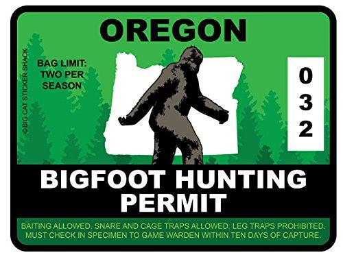 Bigfoot Hunting Permit -OREGON (Bumper Sticker)