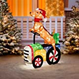 Outdoor 35'' Dog Riding Tractor Christmas Decoration Yard Sculpture Seasonal Display