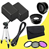 TWO BP-819 Lithium Ion Replacement Battery + 58mm 3 Piece Filter Kit + 58mm Wide Angle Lens + 58mm 2x Telephoto Lens + Mini HDMI Cable + Full Size Tripod for Canon Vixia HFG10 XA10 HFS10 HFS20 HFS21 HFS30 HFS100 HFS200 Digital Camcorder DavisMAX BP819 Accessory Bundle