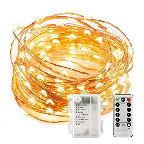 Fairy Lights with Remote, Battery Operated Copper Wire 33 ft 100 LED String Lights 8 Modes, UL Approved Waterproof Outdoor & Indoor Decorative Lights Warm White