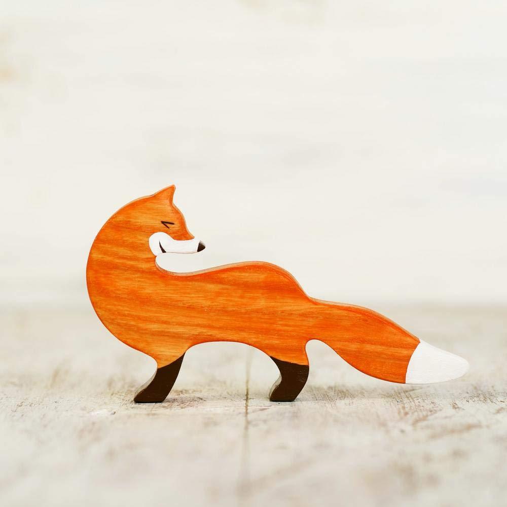 Wooden fox toy Animal figurines